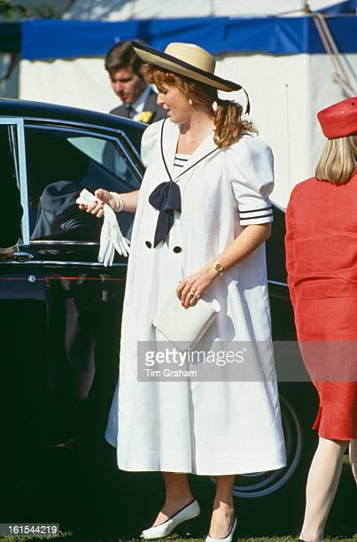 Sarah Duchess of York attends a polo match at Windsor wearing a sailor suit 15th June 1988 She is pregnant with her daughter Princess Beatrice