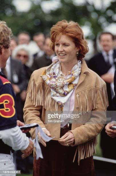 Sarah, Duchess of York attends a polo match in aid of the Blue Cross animal charity at Windsor in Berkshire, UK, 12th June 1991.