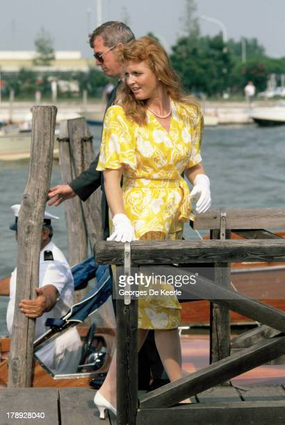 Sarah Duchess of York attends a 'Save Venice Appeal' ball during her visit to Venice on August 31 1989 in Venice Italy