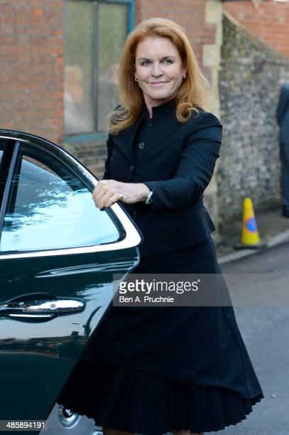 Sarah, Duchess of York attends the funeral of Peaches Geldof, who died aged 25 on April 7, at St Mary Magdalene & St Lawrence Church on April 21,...