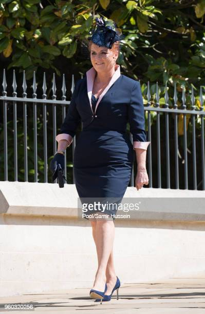 Sarah Duchess of York attends the wedding of Prince Harry to Ms Meghan Markle at St George's Chapel Windsor Castle on May 19 2018 in Windsor England...