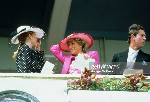 Sarah Duchess of York Diana Princess of Wales and her husband Prince Charles watch the Epsom Derby March 6 1987 in Epsom United Kingdom