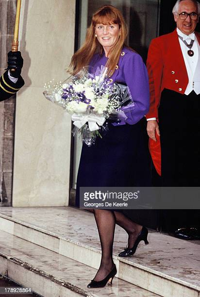 Sarah Duchess of York holds a bouquet of flowers in 1990 ca in London England