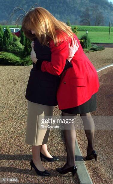 Sarah Duchess Of York Hugging Beryl Daniel At The Motor Neurone Disease Association Christmas Party At The Denbies Wine Estate Surrey