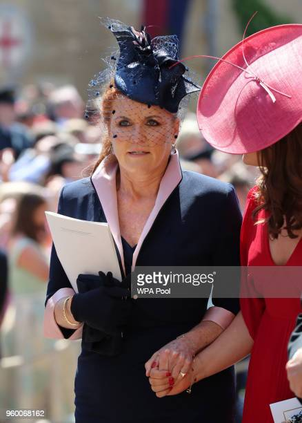 Sarah Duchess of York leaves St George's Chapel at Windsor Castle after the wedding of Prince Harry to Meghan Markle on May 19 2018 in Windsor England