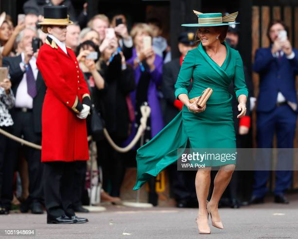Sarah Duchess of York mother of Princess Eugenie of York arrives ahead of the wedding of Princess Eugenie of York and Mr Jack Brooksbank at St...