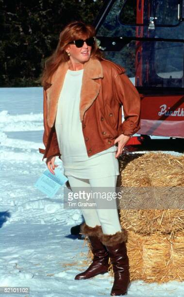 Sarah, Duchess Of York, Pregnant With Her Second Baby, Attending A Ski Championships.