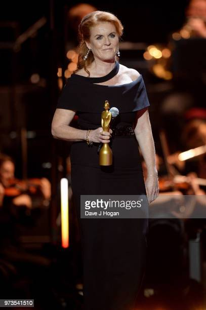 Sarah, Duchess of York presents the award for Classic BRITs Icon during the 2018 Classic BRIT Awards held at Royal Albert Hall on June 13, 2018 in...