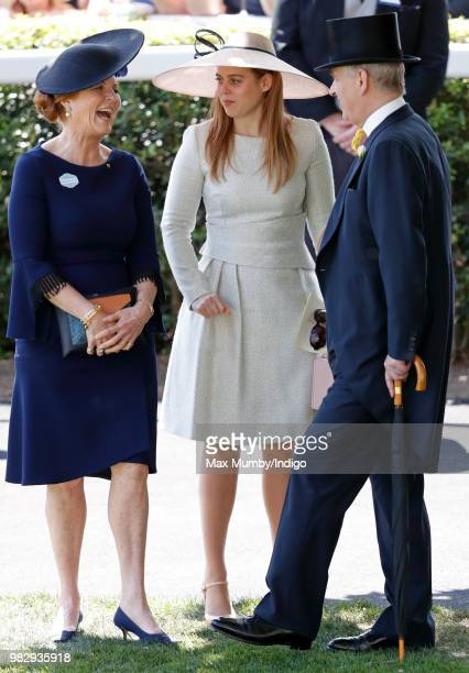 Sarah Duchess of York Princess Beatrice and Prince Andrew Duke of York attend day 4 of Royal Ascot at Ascot Racecourse on June 22 2018 in Ascot...