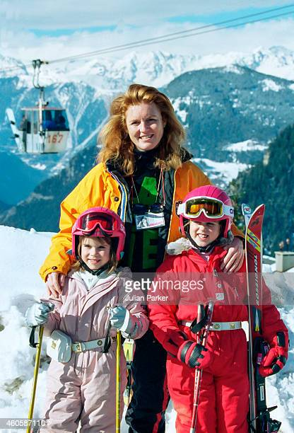 Sarah Duchess of York Princess Beatrice and Princess Eugenie on a Skiing holiday in Verbier Switzerland on February 17 in Verbier Switzerland