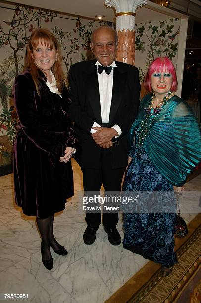 Sarah Duchess of York Sir Magdi Yacoub and Zandra Rhodes attend the Chain of Hope Annual Ball at the Dorchester Hotel on February 4 2008 in London...