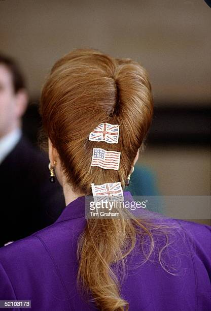 Sarah Duchess Of York Wearing The American And British Flags As Hair Slides In Her Hairshe Is Arriving At The Los Angeles County Museum Of Art To...