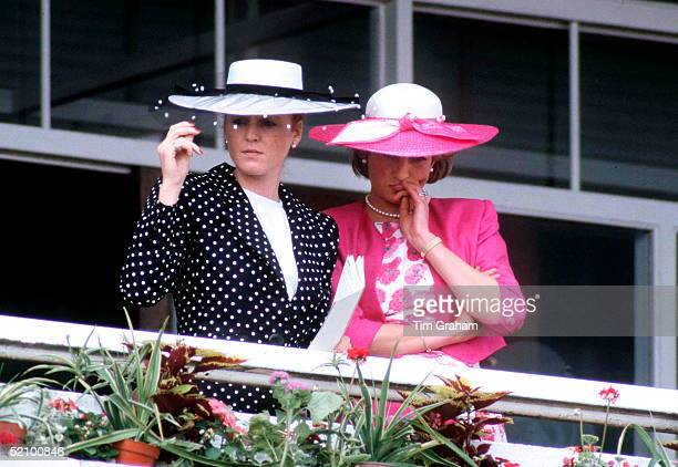 Sarah Duchess Of York With Princess Diana At The Derby When They Were Both Part Of The Royal Family.