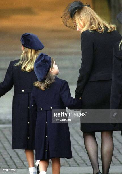 Sarah Duchess Of York With Princess Eugenie And Princess Beatrice Arriving At Westminster Abbey London For Princess Diana Funeral The Princesses Are...