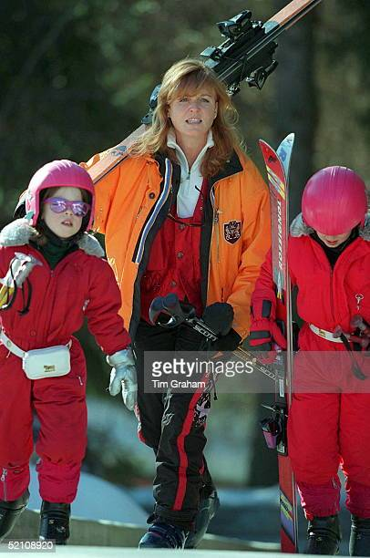 Sarah Duchess Of York With Princesses Beatrice Eugenie In Verbier Switzerland