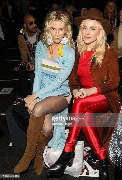 Sarah Dumont and Danielle Dubois attend Jeremy Scott Fall 2016 at The Arc Skylight at Moynihan Station on February 15 2016 in New York City