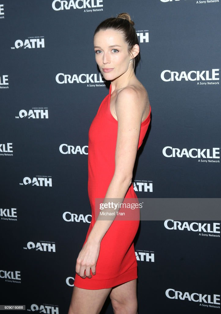 Sarah Dumont arrives to the Los Angeles premiere of Crackle's 'The Oath' held at Sony Pictures Studios on March 7, 2018 in Culver City, California.