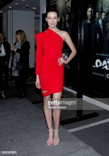 Sarah Dumont attends the premiere of Crackle's 'The Oath' at Sony Pictures Studios on March 7 2018 in Culver City California