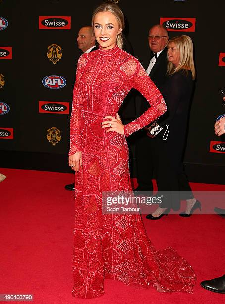 Sarah Dunn partner of Jarryd Roughead of the Hawthorn Hawks arrives at the 2015 Brownlow Medal at Crown Palladium on September 28 2015 in Melbourne...