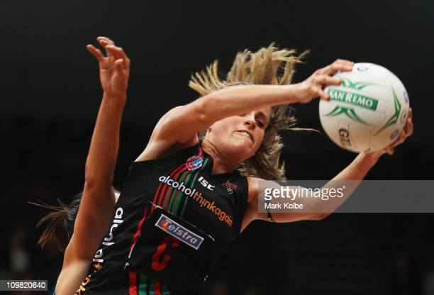 Sarah Ebbott of the Fever catches the ball during the round four ANZ Championship match between the Sydney Swifts and the West Coast Fever at Sydney...