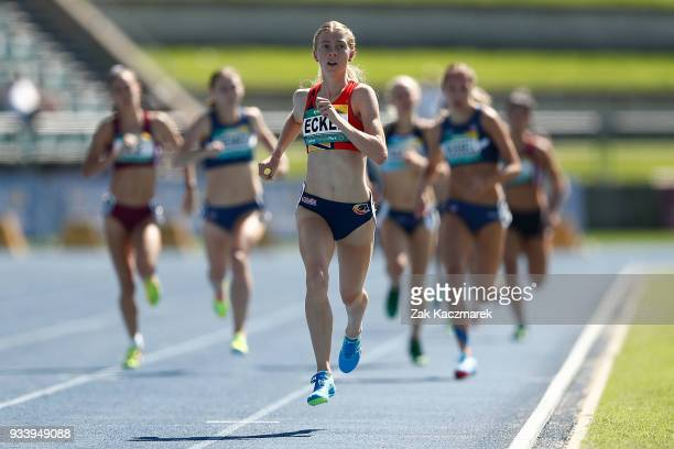 Sarah Eckel of South Australia competes in the Women's 800m Preliminary Final during day four of the Australian Junior Athletics Championships at the...