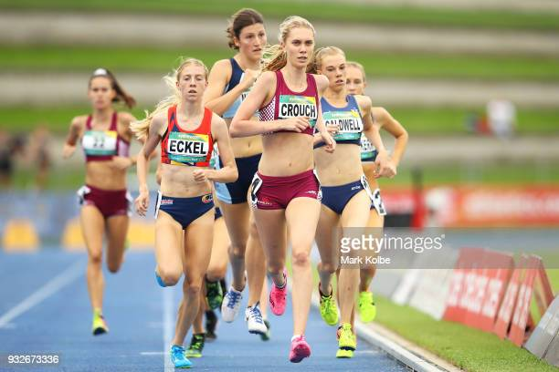 Sarah Eckel of South Australia Lara Crouch of Queensland and Abbey Caldwell of Victoria in the women's under 20 1500 Metre final during day three of...