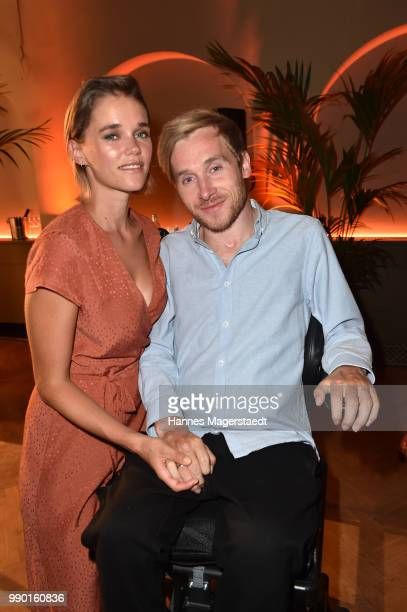 Sarah Elena Timpe and Samuel Koch attend the UFA Fiction Reception during the Munich Film Festival 2016 at Cafe Reitschule on July 2 2018 in Munich...