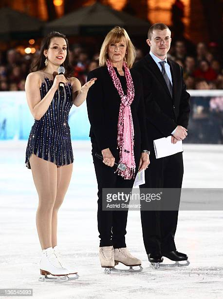 Sarah Elizabeth Hughes JoJo Starbuck and Timothy Goebel attend The Skate Against Breast Cancer event at the Citi Pond in Bryant Park on January 7...