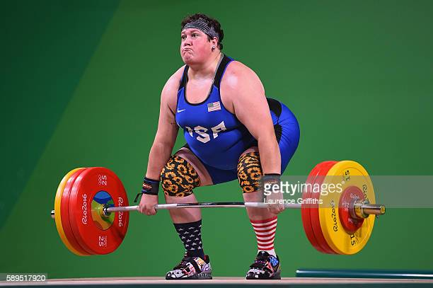 Sarah Elizabeth Robles of the United States competes during the Weightlifting - Women's +75kg Group A on Day 9 of the Rio 2016 Olympic Games at...