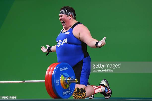 Sarah Elizabeth Robles of the United States reacts during the Weightlifting Women's 75kg Group A on Day 9 of the Rio 2016 Olympic Games at Riocentro...