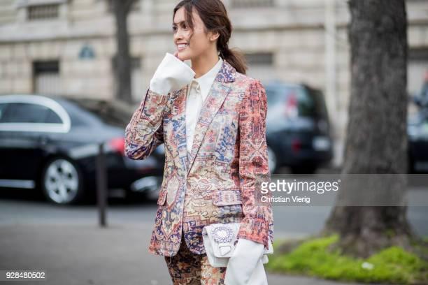 Sarah Ellen is seen outside Miu Miu during Paris Fashion Week Womenswear Fall/Winter 2018/2019 on March 6 2018 in Paris France