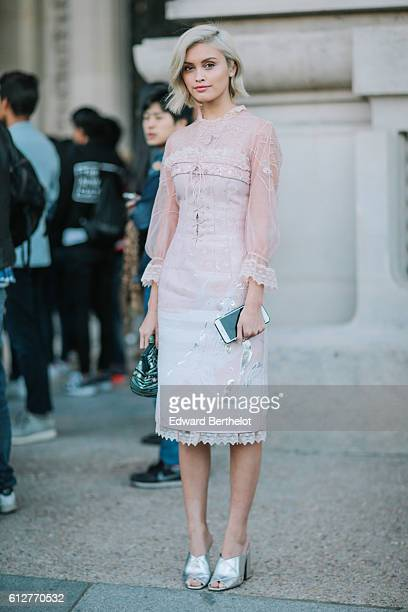 Sarah Ellen is seen outside the Shiatzy Chen show during Paris Fashion Week Spring Summer 2017 at Grand Palais on October 4 2016 in Paris France