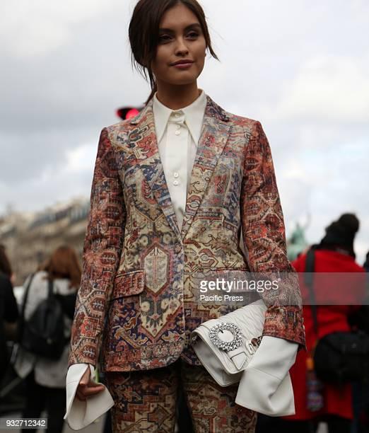 Sarah Ellen on the street before the Miu Miu show during the Paris Fashion Week