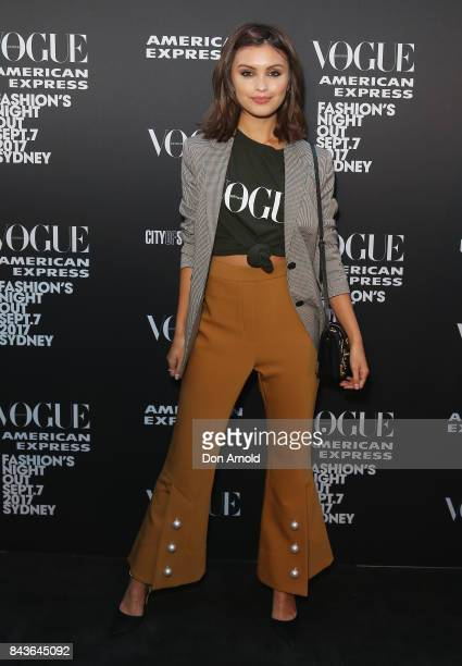 Sarah Ellen poses during Vogue American Express Fashion's Night Out 2017 on September 7 2017 in Sydney Australia