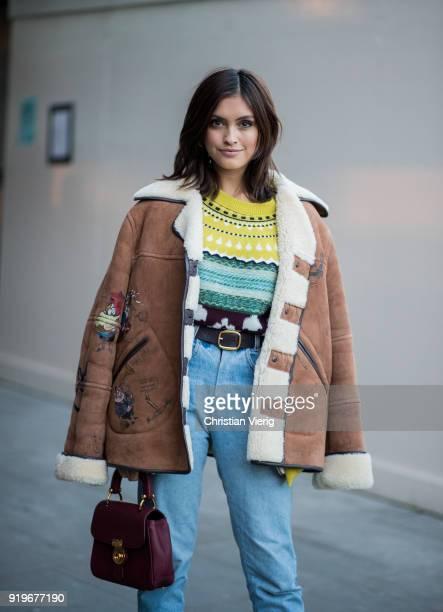 Sarah Ellen seen outside Burberry during London Fashion Week February 2018 on February 17 2018 in London England