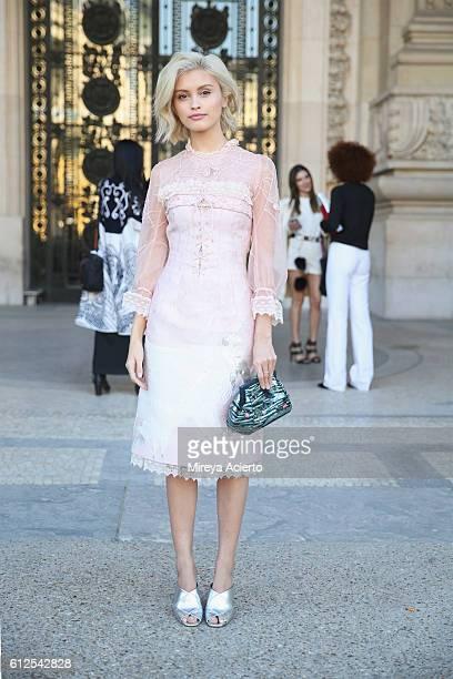 Sarah Ellen seen wearing Shiatzy Chen during Paris Fashion Week Spring/Summer 2017 on October 4 2016 in Paris France