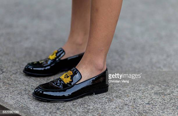 Sarah Ellen wearing black Christian Louboutin loafers outside Emma Mulholland at MercedesBenz Fashion Week Resort 17 Collections at Carriageworks on...