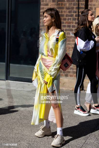 Sarah Ellen wearing Christopher Esber and PE Nation at Mercedes-Benz Fashion Week Resort 20 Collections on May 13, 2019 in Sydney, Australia.