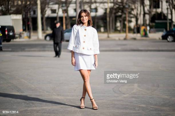 Sarah Ellen wearing jacket and skirt is seen outside Chanel during Paris Fashion Week Womenswear Fall/Winter 2018/2019 on March 6 2018 in Paris France
