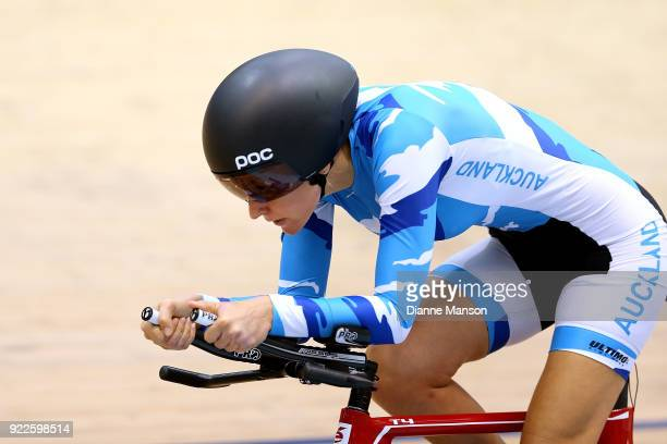 Sarah Ellington of Auckland competes in the Paracylist Women C15 3000m IP during the New Zealand Track Cycling Championships on February 22 2018 in...