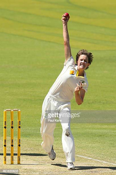 Sarah Elliott of Australia bowls during day one of the Women's Ashes Test match between Australia and England at the WACA on January 10 2014 in Perth...
