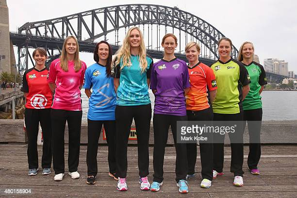 Sarah Elliott of the Melbourne Renegades Ellyse Perry of the Sydney Sixers Megan Schutt of the Adelaide Strikers Holly Ferling of the Brisbane Heat...