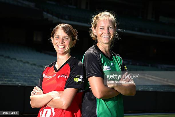 Sarah Elliott of the Renegades and Meg Lanning of the Stars pose during a Melbourne Stars and Melbourne Renegades women's Big Bash League media...