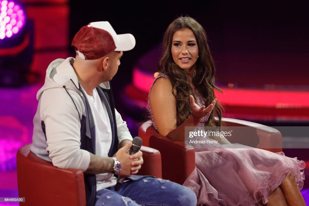 Sarah Engels and Pietro Lombardi are seen on stage at '2017! Menschen, Bilder, Emotionen' TV Show on December 3, 2017 in Huerth, Germany.