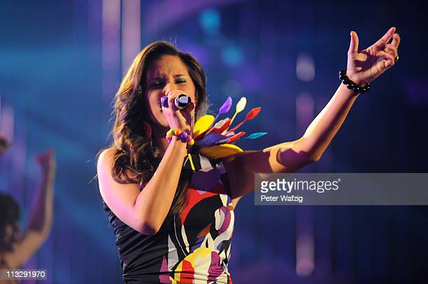 Sarah Engels performs her second song during the 'Deutschland Sucht Den Superstar' TV Show on April 30 2011 in Cologne Germany