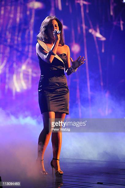 Sarah Engels performs her third song during the 'Deutschland Sucht Den Superstar' TV Show on April 23 2011 in Cologne Germany