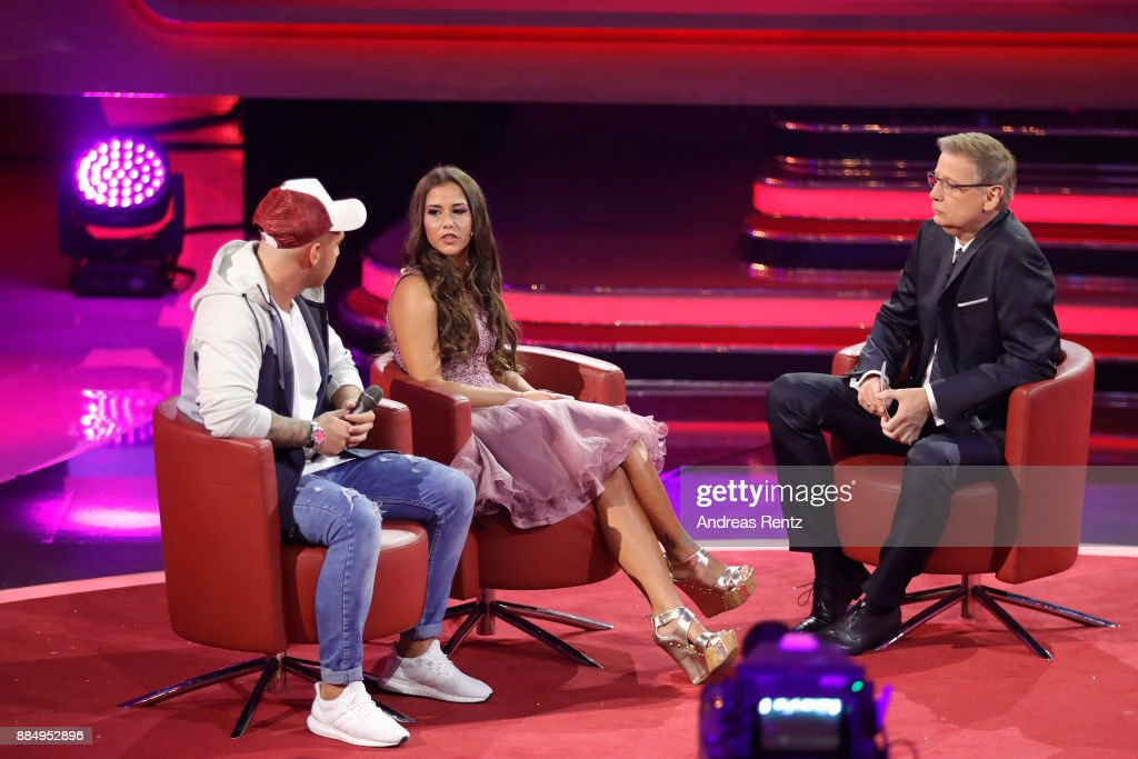 Sarah Engels, Pietro Lombardi and Guenther Jauch are seen on stage at '2017! Menschen, Bilder, Emotionen' TV Show on December 3, 2017 in Huerth, Germany.