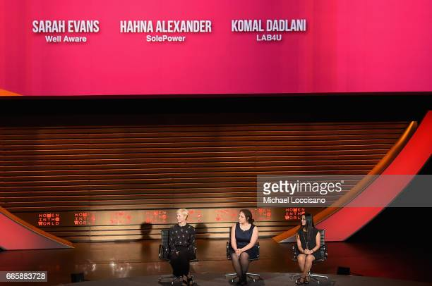 Sarah Evans Hahna Alexander and Komal Dadlani speak during the Eighth Annual Women In The World Summit at Lincoln Center for the Performing Arts on...