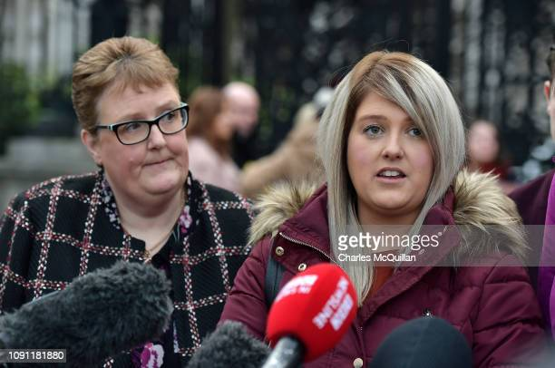 Sarah Ewart and her mother Jane Christie talk to the media outside the High Court on January 30 2019 in Belfast Northern Ireland Sarah Ewart is...