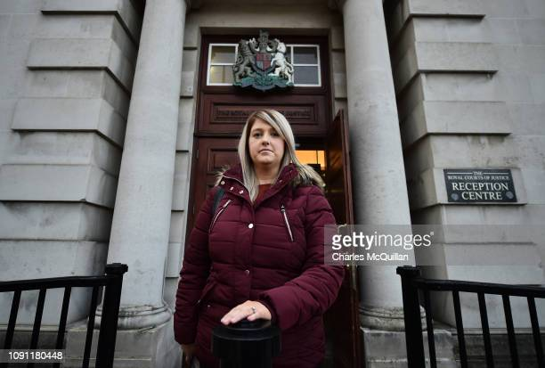 Sarah Ewart poses outside the High Court on January 30 2019 in Belfast Northern Ireland Sarah Ewart is challenging Northern Ireland's strict abortion...